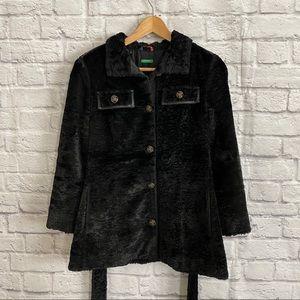 United Colors of Benetton Black Faux Fur Coat